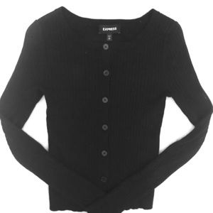 Black Express top with buttons down middle